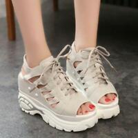 Roman Womens Open Toe Lace Up High Wedge Heels Creeper Platform Sneaker Sandals