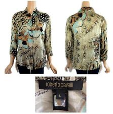 Roberto Cavalli Italy Multi Colored Silk Blouse With Chains & Feathers M