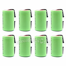 8 pcs 4/5 SubC Sub C 1600mAh NiMH 1.2V Rechargeable Battery Cell with Tab Green