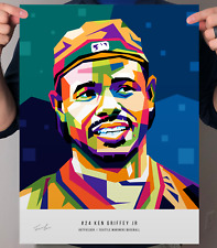 "Ken Griffey Jr Seattle Mariners Baseball POP Art Print Poster 12"" x 16"""