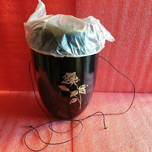 Black Steel with Gold Rose Emblem Funeral Cremation Ashes Urn for Adult (709A)
