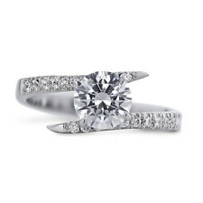 Solitaire 1.40Ct Diamond 14K White Gold Engagement Rings Wedding Ring Size 6.5
