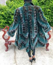 New Designer Sable brown green Semi Sheared plucked Mink Fur jacket coat M 6-12