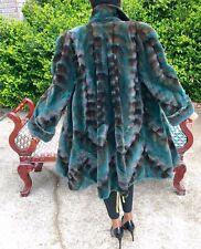 New Designer Sable brown green Semi Sheared plucked Mink Fur jacket coat M 6-12