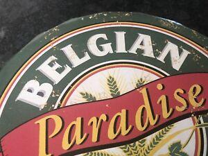 Belgium Beer Metal 30cm Bottle Top Wall Sign Vintage Style Man Cave Pub Cafe