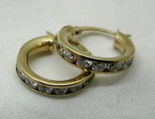 Very Nice Pair Of 9 carat Gold And Cubic Zirconia Small Hoop Earrings