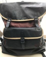 Fred Perry Men Coated Cotton Canvas Back Bag Maroon/Navy RRP£70