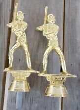 2 VINTAGE METAL BASEBALL PLAYER AT BAT TROPHY TOPPERS