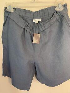 J Jill Size Small 100%  Linen Shorts Elastic Pull-on Flat Front NWT BLUE