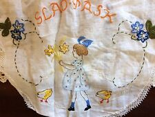 Antique Edith Hand Embroidered Table Cloth Lovely Happy Easter Glad Påsk