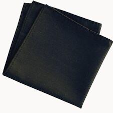 Mens Solid Black Cotton Pocket Square Hankerchief Hanky