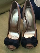 "VALENTINO GARAVANI  Sz. 9 Black/Tan Satin Peep Toe W/Bows  5"" Heels  Gently Worn"