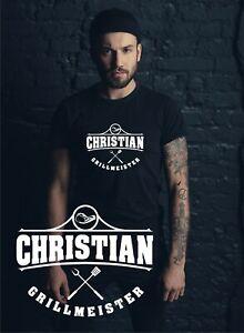 Herren T-Shirt Grillshirt mit Wunschname personalisierbar Grillmeister Grill