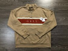 Obey Clothing Gaze Mock Neck Quarter-Zip Fleece Sweatshirt Taupe Mens XL NEW