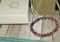 QVC milor Sterling silver pink mauve Rhodonite magnetic beaded bracelet italy
