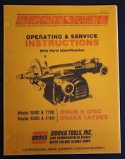 Ammco Brake Lathe Operation Service Amp Parts Manual Models 3000 4000 4100 7700