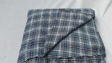 """Cotton woven blue white Plaid fabric 40"""" wide 2 yards sewing apparel"""