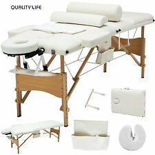 White 3 Fold Portable Facial SPA Bed Massage Table Sheet+2 Bolster+Cradle+Hanger