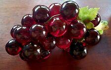 "Vintage Large Lucite Acrylic Grape Cluster Decor Red 14"""