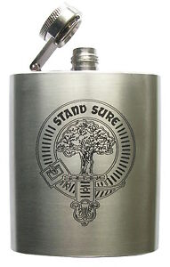 Clan Crest SPORRAN Flask 3oz STAINLESS STEEL 60 crests A-MacD. UK made/St/Steel