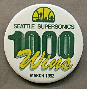 "uncommon 1992 SEATTLE SUPER SONICS 1000 WINS basketball NBA 3"" pinback button a2"