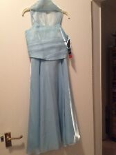 Ball Prom Party Flower Girl Dress & wrap Age 7-8 Blue diamonte Beaded