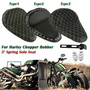 """Leather Motorcycle 3"""" Spring Driver Solo Seat Bracket For Harley Chopper Bobber"""