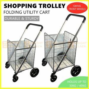 Portable Folding Shopping Cart Rolling Utility Trolley 4 Wheels Foldable Basket