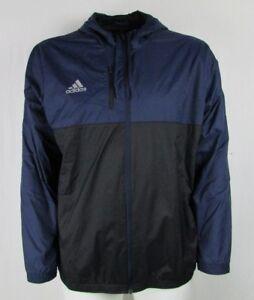 Adidas Mens Full Zip Black/Blue 2XL Windbreaker Jacket w/ Breast Area Zip Pocket
