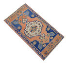 """1'10"""" x 3'4"""" Distressed Small Area Rug Hand Knotted Turkish Rug Mat 55x101 cm"""
