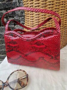 Vintage Late 90's Nancy Gonzalez Red & Black Genuine Python Skin Grab Kelly Bag.