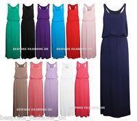 New Women's Girls Puff Ball Racer Back Ladies Elasticated Waist Maxi Dress SM/ML