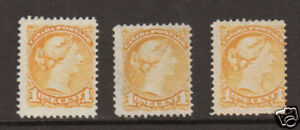 Canada Sc 35 MNG. 1870 1c yellow Queen Victoria, 3 different shades, nice group.