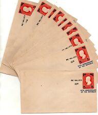 PHILIPPINES Republic 1956 Embossed Jose Rizal Covers Re-Value 2c 5c-10s X 10 Lot