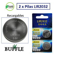 2 x Baterías Pilas Boton de Litio Recargables LIR2032 3.6V 40mAh Cell Button