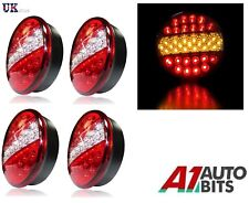 4x 12v / 24v Led Hamburger Brake Indicator Tail Lights Round Trailer Car Van