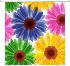 Nice! Floral Daisy Green Pink Blue Farmhouse Waterproof Fabric Shower Curtain