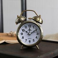 2pcs Classic Metal Double Bell Alarm Clock Retro Analog Quartz Silent Nightlight