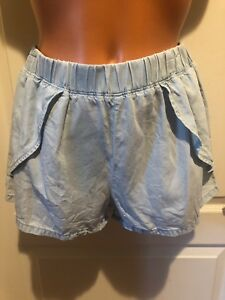 DITTOS DOUX Faded Blue Faux Wrap Denim Jean Shorts S Small
