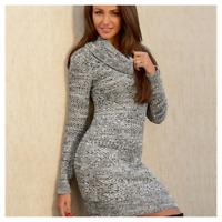 Michelle Keegan Lipsy Jumper Dress UK 14 Cowl White Black Grey Chunky Knit Mini