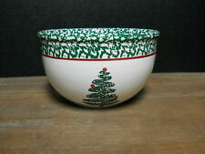 """7 1/4"""" Mixing  Bowl Christmas Tree Motif Green Red White Furio Italy As Is"""