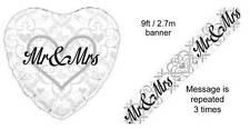 """MR & MRS"" 18"" HEART SHAPED FOIL BALLOON AND FOIL BANNER WEDDING CELEBRATION"