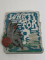 Lady finger dipped in moonlight writing WHAT FOR morning sky 3D enamel pin STFO