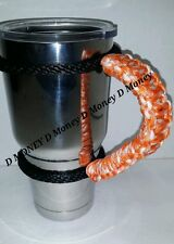 Paracord Handle for 40oz, 30oz, or a20oz YETI, SIC, Ozark, Rtic Orange & white