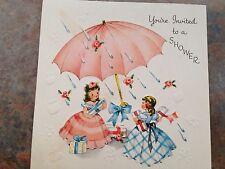 Wedding Shower Girls in Fancy Dress Under Umbrella Presents Raindrops Vtg  Card