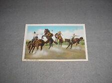 """Ride'em Cowboy"" Old 1930s Bucking Horse Spokane Washington Rodeo Linen Postcard"