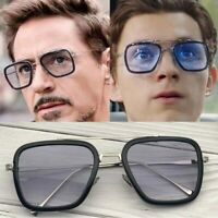 Curtain Tony Stark Sunglasses Men Avengers Iron Man Square Sunglasses Retro