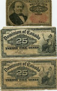 3 PC. US & CANADA FRACTIONAL CURRENCY GROUP!!..STARTS@ 2.99