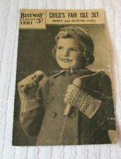 KNITTING PATTERN VINTAGE 1940`s  ** BERET AND GLOVES - 3-PLY ** BESTWAY No 1201