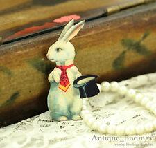 4pcs Handmade Wood Wooden Mr' Rabbit Charms / Pendants HW016F